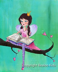 Art for Children Bookworm Fairy Art Print 8x10 by bealoo on Etsy