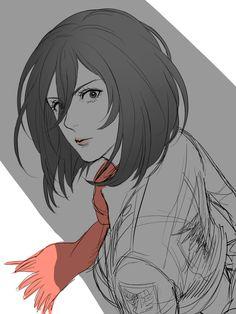 "liletoule: "" Eren , Mikasa ,Rivalle and Jean from Attack on Titans "" Mikasa Anime, Eren X Mikasa, 5 Anime, Anime Girls, Attack On Titan Fanart, Attack Titan, Rivamika, Ymir, Eremika"