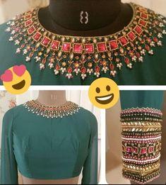 Choli Blouse Design, Wedding Saree Blouse Designs, Hand Work Blouse Design, Stylish Blouse Design, Traditional Blouse Designs, Black Blouse Designs, Blouse Designs High Neck, Handmade Embroidery Designs, Designer Blouse Patterns