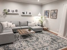 Grey lounge and blue rug with white and timber Cream Living Rooms, Living Room Grey, Rugs In Living Room, Home And Living, Living Room Furniture, Living Room Designs, Living Room Decor, Bedroom Decor, Cream And White Living Room