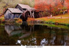 Mabry Mill, on the Blue Ridge Parkway, Virginia, in early fall - Stock Image