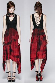 Red Tulip Gothic Dress by Punk Rave might be similar to the Arya dress, but it has completely different features. These include a red and black color scheme, cross adornments in the front and red lacing below the collar.