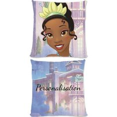 """This Fantastic Disney Princess Tiana official cushion is fully licensed and is perfect for any dedicated Disney fan. Your personalisation is merged with the stylish design and is printed onto the 18"""" x 18"""" (45cm x 45cm) brushed poly fibre cushion using the latest sublimation technology. The edge to edge design is printed on both sides and is finished with an invisible zip."""