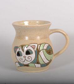 Handmade ceramic mug 300 ml (green cat) - Purrfect Ceramics Online Shop