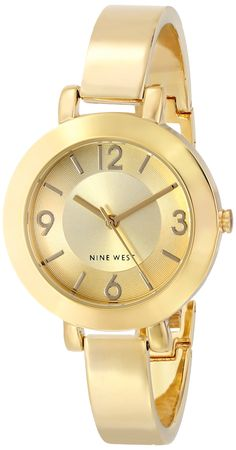 Nine West Women's NW/1630CHGB Champagne Dial Gold-Tone Bangle Watch