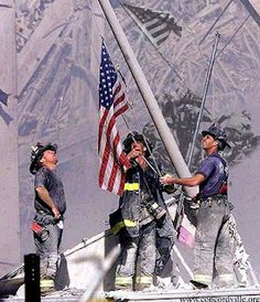 """""""Raising the Flag at Ground Zero"""" photograph by Thomas E. Franklin. The image was taken shortly after 5 p.m. on September 11, 2001.Brought to you by Cookies In Bloom and Hannah's Caramel Apples   www.cookiesinbloom.com   www.hannahscaramelapples.com"""