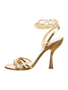 Miu Miu Metallic Wrap-Around High Heels
