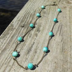 Tropical Breeze Necklace  turquoise shell by MySoulCanDance on etsy