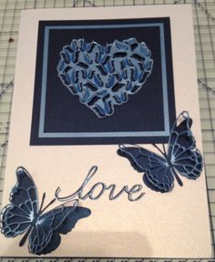Wedding card made using Memory Box Butterfly Heart die  Justrite