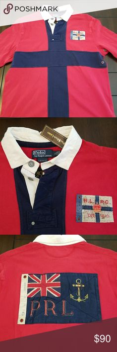 Polo Ralph Lauren custom fit Union Jack rugby, L. NWT PRL custom fit, size large. Nautical themed with a large Union Jack (British flag) on the back. Polo by Ralph Lauren Shirts