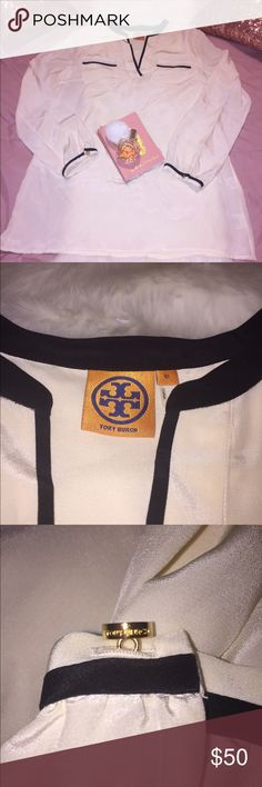 Tory Burch Top 100% Silk Sum sheer, excellent condition. Color is like a light cream off-white. Arm pit to arm pit is 21', 30' length. Gently used with no flaws. Tory Burch Tops Blouses