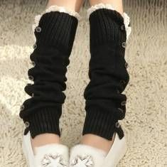 Women Girl Knitting Boots Long Stockings Lace Button Decorative Legs Protective Socks Hosiery
