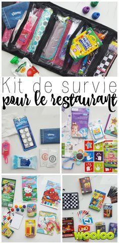 Restaurant survival kit - in French, but easily inderstood. -  djc Parents, voici une pochette magique qui va vous sauer la vie au restaurant! Mais qui a-t-il dans mon kit de survie pour le restaurant?