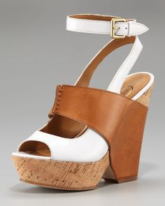 Ash Colorblock Cork Wedge Sandal in Brown (white natural) | Lyst