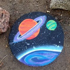 Saturn painted rock