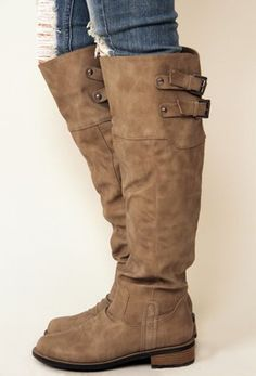 Knee high boots by Qupid in taupe. Cute, stylish, designer inspired boot.