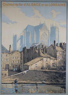 Vintage Railway Travel Poster - Metz - Cathedral Saint-Etienne - France.
