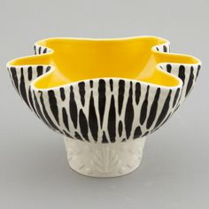 Beswick Mid Century Zebra Stripe Planter Bowl --- Circa 1960 planter / bowl by Beswick of England has black and white zebra stripe glaze and yellow interior with fluted rim. We have several pieces in this pattern available - please inquire. --- Item:  3152 --- Retail Price:  $295