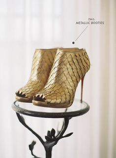 """Gold booties always win. Booties are where it's at right now, but gold booties? Favorite shoes ever. See our 20 most elegant and """"wow"""" worthy wedding shoes: Unique Wedding Shoes, Unique Weddings, Wedding Heels, Wedding Details, Mod Wedding, Fall Wedding, Wedding Blog, Wedding Bride, Wedding Gowns"""