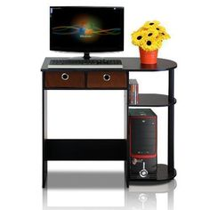 Wooden Computer Desk with Drawers and 2 Shelves Espresso Finish Small Student Workstation Desktop Laptop Writing Studying Reading Desk Table Home Office Furniture & eBook by Easy&FunDeals Home Office Computer Desk, Wood Computer Desk, Home Office Furniture, Small Computer, Laptop Desk, Laptop Table, Gray Furniture, Corner Office, Corner Desk