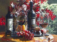 """☂Automne☂ """"Elegant Afternoon"""" aquarelle d'Éric Christensen, artiste américain spécialisé dans la peinture vinicole."""