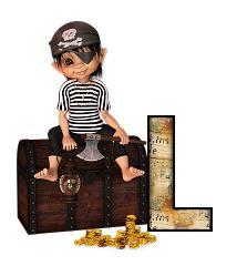 Alfabeto de niño pirata sentado sobre el cofre del tesoro. | Oh my Alfabetos!