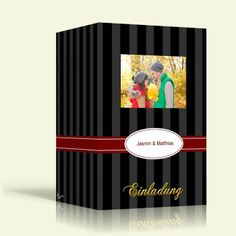 Einladung zur Hochzeit - Schwarze Streifen - Hochformat