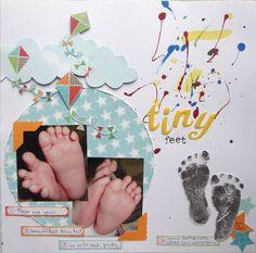 baby scrapbook page- foot print, hospital bracelet, hospital photo, etc
