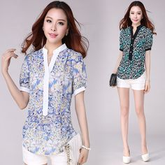 S-4XL Plus Size New Spring Summer 2014 Women Blouses Big Size Short-sleeve Leopard Floral Print Chiffon Shirt Free Shipping 2332 US $16.88
