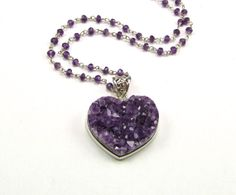 Druzy Amethyst Sterling Heart Pendant Necklace  by TheSilverBear, $145.00