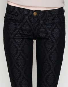 Monochrome painterly print jeans; abstract black & white pattern ...
