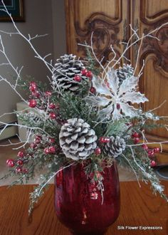This modern holiday arrangement features shaped branches with a deep red hydrangeas and iced white berries. All in a soft gray colored 8 h x 4 w x 2 d ceramic vase. Overall size 21 h x 13 w x 6 d Christmas Vases, Christmas Arrangements, Christmas Centerpieces, Vintage Christmas, Red Christmas, Christmas Crafts, Christmas Decorations, Country Christmas, Xmas