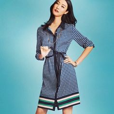 Ann Taylor 601.605.1876 The comfort of the shirt, the elegance of a dress; check out our latest trend resolution: the Shirt Dress! @Wooyong Chang...