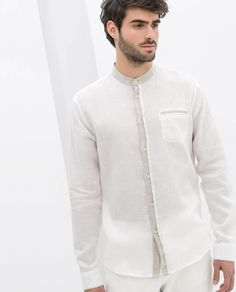 ZARA - HOMBRE - CAMISA LINO CUELLO MAO CONTRASTES Indian Men Fashion, Mens Fashion, Shirt Sketch, Kurta Men, Only Shirt, Kurta Designs, White Shirts, Shirt Style, Men Dress