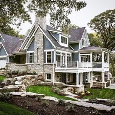 Blue house with white trim casas grandes, casas rústicas, casas bonitas, ma Dream Home Design, My Dream Home, Dream Homes, Dream Big, Dream House Exterior, House Exteriors, Stone On House Exterior, Gray Exterior Houses, House Ideas Exterior