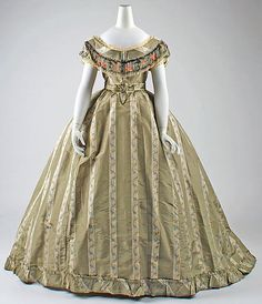 I love how she used the stripes in the fabric for her design    Dress  1865  The Metropolitan Museum of Art
