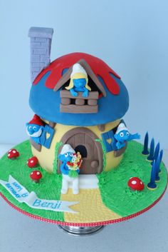 Smurfs Birthday Cake - house