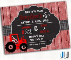 Tractor & Red Barn Wood Birthday Party Invitation - 5x7 - Printable PDF or JPG on Etsy, $12.00