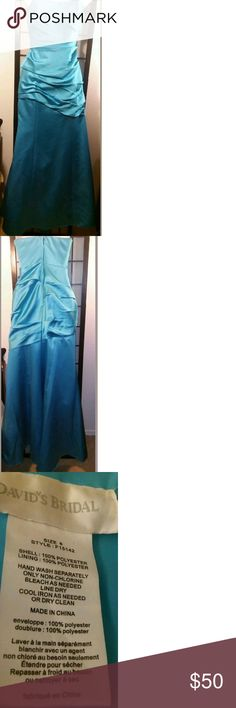 David's Bridal Turquoise Formal Trumpet Dress Elegant~Strapless~Size 6~Davids Bridal~Trumpet Style W/ Front- Side Ruching~Sexy Formal~Back Zipper~Full Length~ Dress? David's Bridal Dresses Wedding