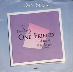 "Dan Seals / One Friend / Bop / 7"" Vinyl Jukebox 45 RPM Record & Picture Sleeve 44077 #DanSeals #OneFriend #CountryMusic"