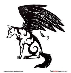 Tattoo design of a wolf with wings