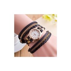 Multilayer PU Leather Band Wrap Bracelet Wrist Watch ($4.71) ❤ liked on Polyvore featuring jewelry, watches, black, jewelry watch women watch, leather wrist band watch, layered jewelry, leather band watches and dial watches