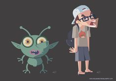 Hector's caricature and alien
