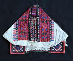 Slovak Kapka Cap Back  This image shows the back view of the married woman's cap from Polomka, Slovakia Europe.