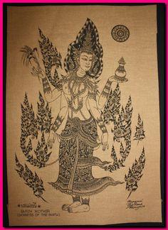 Arte tailandese tradizionale di Phra Mae Thorani di AmornGallery