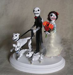 Day of the Dead Tattooed Skeleton Bride and Groom by claylindo, via Flickr
