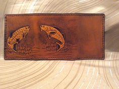 Fish tri fold Hand carved leather trifold by CLNleathercraft