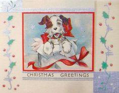 1930's Christmas Card. Christmas Greetings. Vintage Christmas Card. Retro Christmas Card. Christmas Puppy.