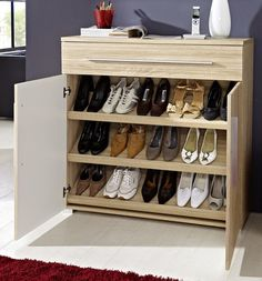 10 Top and Awesome Shoe Rack Design Ideas For Small Space - Top Home Ideas Shoe Cabinet Design, Shoe Storage Design, Rack Design, Shoe Storage Small Closet, Hallway Shoe Storage, Storage Shelves, Furniture Slipcovers, Furniture Covers, Shoe Rack Models