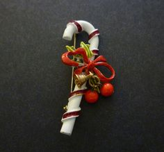 Candy Cane Pin Brooch signed ART Enamel by MaisonChantalMichael